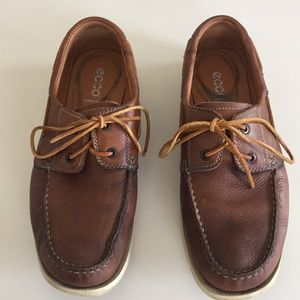 Ecco Brown Leather Extra Wide Boat Shoes